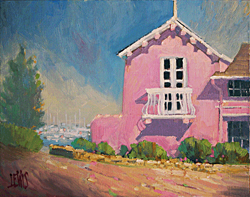 A painting of a white balcony on a pink building at old Fishermans Wharf.