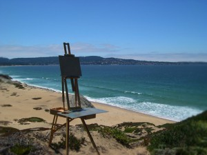 Easel Setup on Dune above the Bay