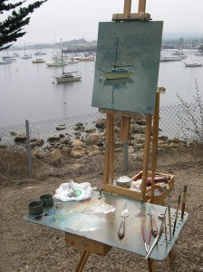 Harbor with Easel and the Boat