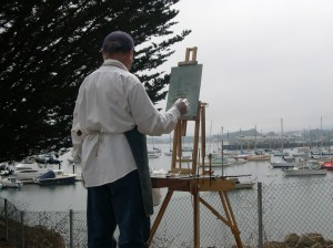 Robert Lewis Painting the Boat in the Harbor