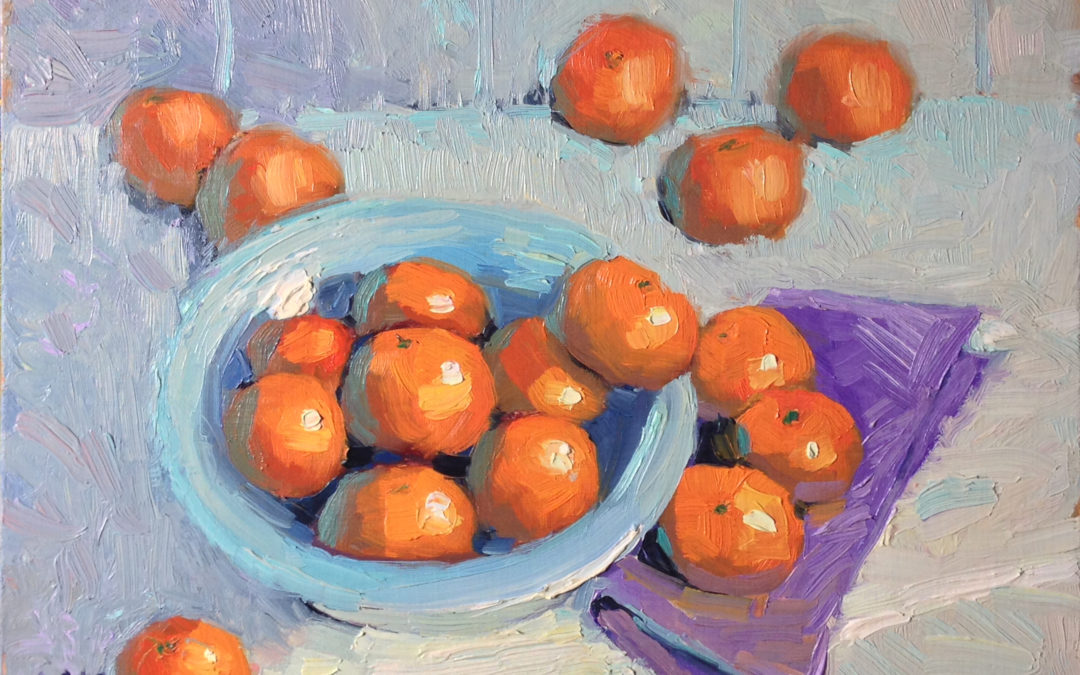 Tangerines in a Light Blue Bowl